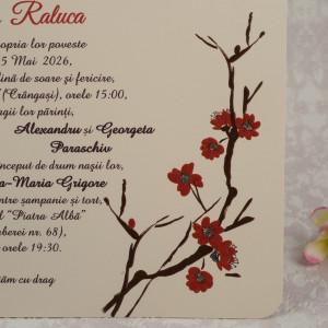 Invitatie de nunta crem cu flori de cires 10165 STYLISH