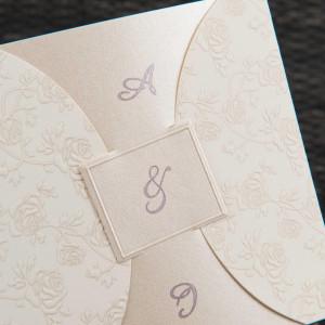 Invitatie de nunta cu broderie trandafiri in relief 1100 STYLISH