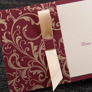 Invitatie de nunta stil baroque cu fundita 1104 STYLISH