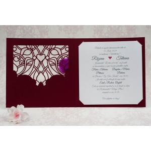 Invitatie de nunta visinie cu decupaj dantelat 2195 STYLISH