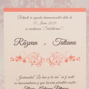 Invitatie de nunta roz cu elemente baroque 2196 STYLISH