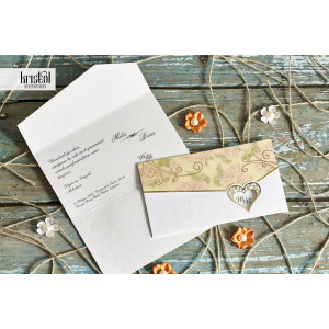 Invitatie de nunta florala cu inimioara 30043 KRISTAL