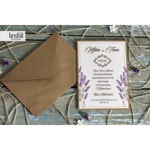 Invitatie de nunta florala cu lavanda 70231 KRISTAL