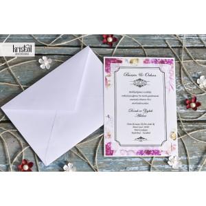 Invitatie de nunta clasica florala 70288 KRISTAL