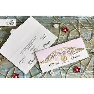 Invitatie de nunta tip plic florala roz cu auriu 70348 KRISTAL