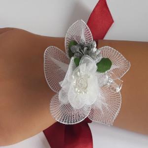 Bratara domnisoara de onoare marsala cu floare alb 16