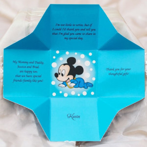 Invitatie de botez cututa albastra Mickey