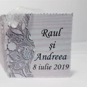 Eticheta - Card dublu perforat alb 34