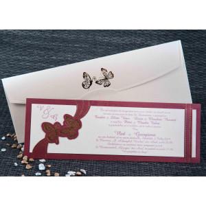 Invitatie de nunta bordo cu fluri aurii 1091 STYLISH