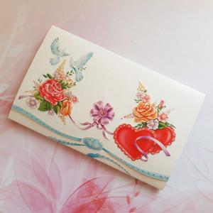 Invitatie de nunta cu flori, inimioare si porumbei 124032 TBZ
