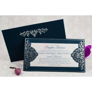 Invitatie de nunta albastra cu model argintiu 2192 STYLISH