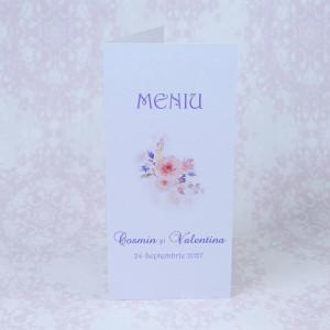 Meniu alb cu flori roz 222714 POLEN