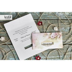 Invitatie de nunta florala cu chenar 70306 KRISTAL