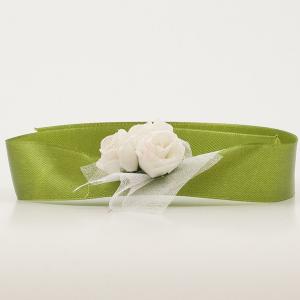 Bratara domnisoara de onoare verde cu flori albe 6
