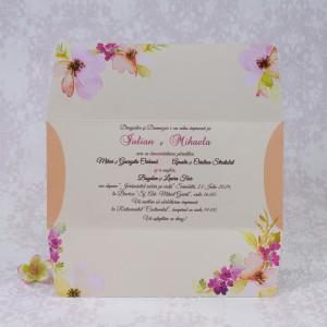Invitatie de nunta florala in forma de plic 2212 Polen