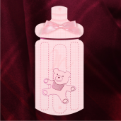 Invitatie de botez roz cu ursulet si fundita 115442 TBZ