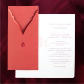 Invitatie de nunta eleganta visiniu si rosu metalic 115422 TBZ