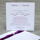 Invitatie de nunta eleganta alba cu funda mov 1140 Polen