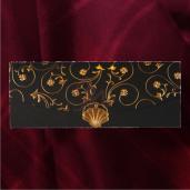 Invitatie de nunta florala in forma de plic cu insertii aurii 2117 TBZ